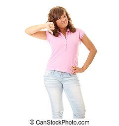 mulher jovem, com, polegares baixo