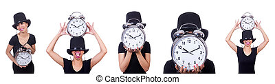 mulher jovem, com, relógio, isolado, branco