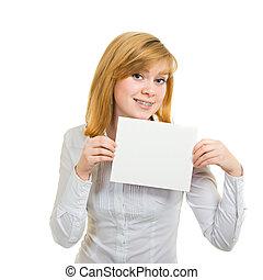 mulher jovem, com, suportes, e, branca, billboard