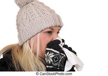 mulher jovem, com, um, gelado, e, vírus gripe, espirrando, em, um, tecido, é