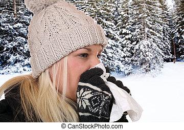 mulher jovem, com, um, gelado, e, vírus gripe, espirrando, em, um, tecido, saída