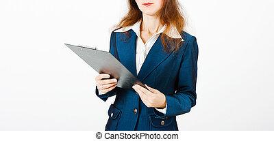 mulher jovem, com, um, pasta, em, mãos