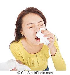 mulher jovem, com, um, um, alergia, espirrando, em, tecidos