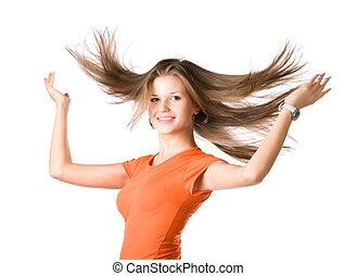 mulher jovem, com, vibrar, cabelo