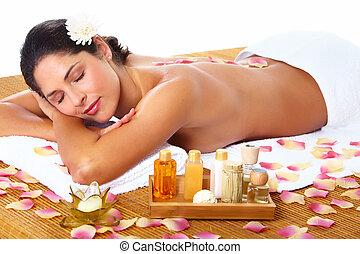 mulher jovem, começando massage, em, spa, salon.