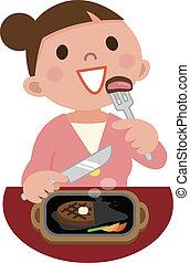 mulher jovem, comer, bife