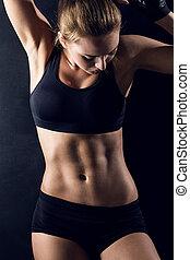 mulher, jovem, condicão física