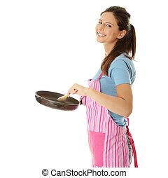 mulher jovem, cozinhar, alimento saudável