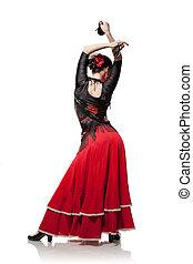 mulher jovem, dançar, flamenco, com, castanholas, isolado, branco