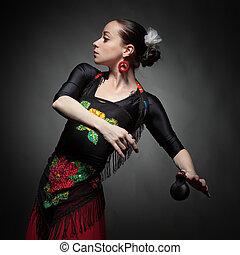 mulher jovem, dançar, flamenco, com, castanholas, ligado, pretas