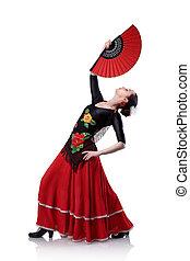 mulher jovem, dançar, flamenco, com, ventilador, isolado, branco