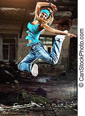 mulher jovem, dançar