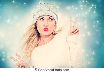 mulher jovem, dar, a, sinal paz