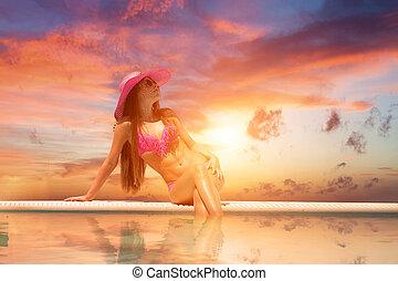 mulher jovem, desgastar, um, chapéu palha