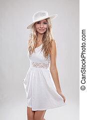 mulher jovem, desgastar, um, vestido branco