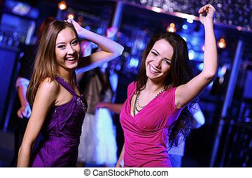 mulher, jovem, discoteca, divertimento, danceteria, tendo