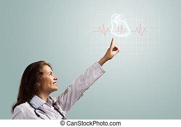 mulher jovem, doutor, dedo, glowing, coração, símbolo