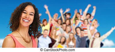 mulher jovem, e, grupo, feliz, pessoas.