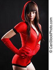 mulher jovem, em, a, bodysuit, com, um, hood.