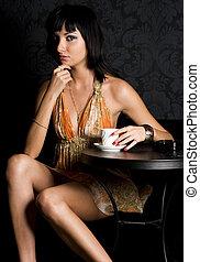 mulher jovem, em, a, café