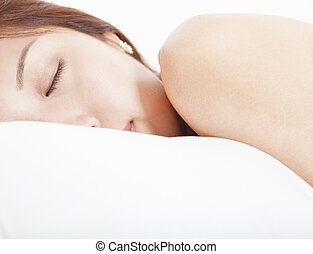 mulher jovem, em, dormir