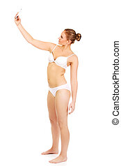 mulher jovem, em, roupa interior, faz, foto, de, mesma