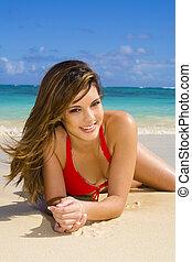 mulher jovem, em, um, biquíni, em, havaí
