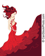 mulher jovem, em, waving, vestido vermelho