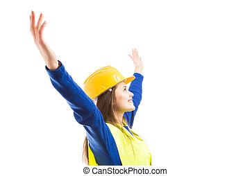 mulher jovem, engenheiro, com, braços largo aberto