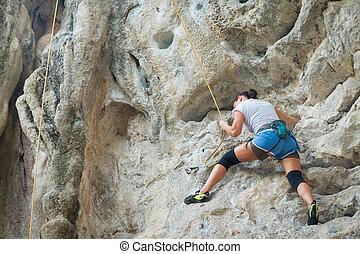 mulher jovem, escalar rocha, branco, montanha