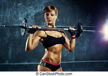 mulher, jovem, esportes