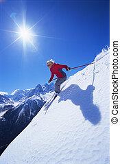 mulher, jovem, esquiando