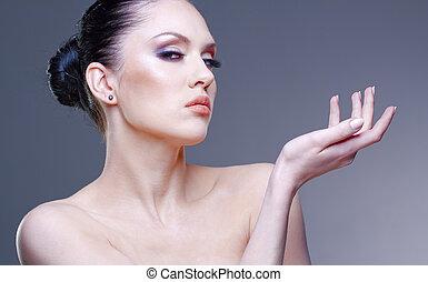 mulher, jovem, estúdio, bonito, elegante, retrato
