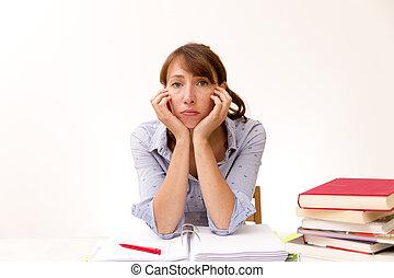 mulher jovem, estudar, e, leitura, em, um, library.