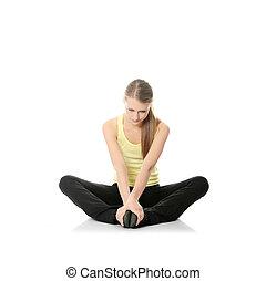 mulher, jovem, exercício