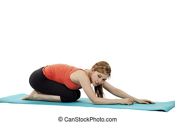 mulher, jovem, exercitar, fundo, condicão física, branca, feliz