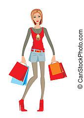 mulher jovem, faz, shopping