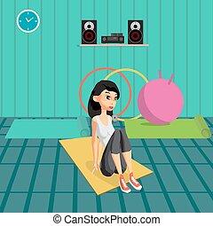 mulher jovem, fazendo, exercícios, construir, abdominal, muscles., a, menina, em, um, esportes, paleto, é, acoplado, em, atividades, em, a, gym., apartamento, caricatura, vetorial, ilustração
