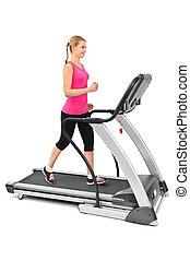 mulher jovem, fazendo, exercícios, ligado, treadmill
