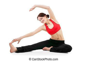 mulher jovem, fazendo, ginástica