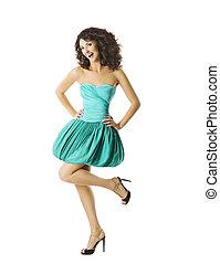 mulher jovem, feliz, dançar, sorrindo, contente, menina, em, vestido