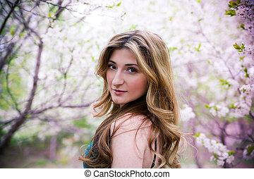 mulher, jovem, flowers., bonito