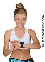 mulher, jovem, fones, relógio
