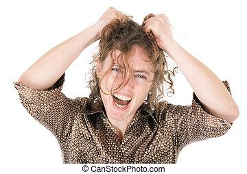 mulher, jovem, frustrado