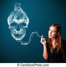 mulher jovem, fumar, perigosa, cigarro, com, tóxico, cranio,...