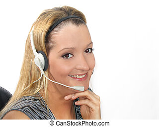 mulher jovem, headset