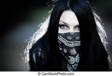 mulher jovem, hooligan