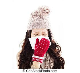 mulher jovem, infected, com, gelado, soprando, dela, nariz