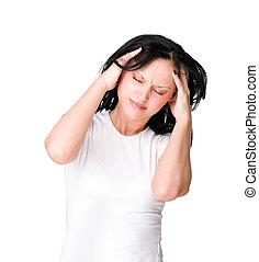 mulher, jovem, isolado, segurando, branca, cabeça, dor de cabeça