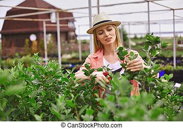 mulher, jovem, jardim